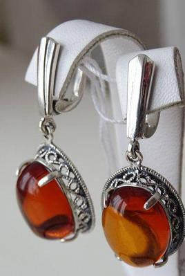 Серебряные серьги Янтарем