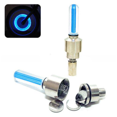 Светодиодные фонарики на ниппель синего цвета, пара