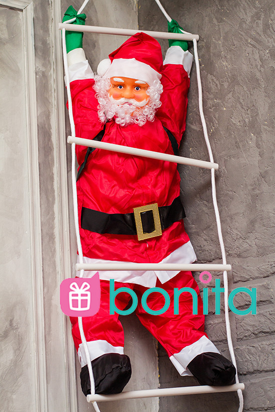 Новогодняя уличная фигурка Bonita Дед Мороз 90 см на лестнице, фото 1
