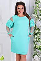 Стильное женское батальное платье со вставками из сетки и кружев на рукавах цвета ментол  АРТ-7561/7