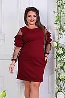 Бордовое стильное женское батальное платье со вставками из сетки и кружев на рукавах  АРТ-7561/7