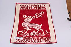 Махровое полотенце  лицевое 50*90 дизайн Олень красный