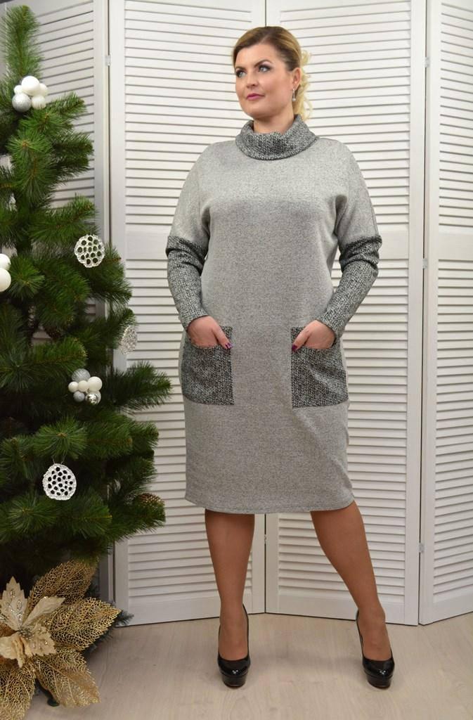 Платье трикотажное серое - Модель 1685-4