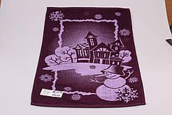 Махровое полотенце  лицевое 50*90 дизайн Снеговик фиолетовый
