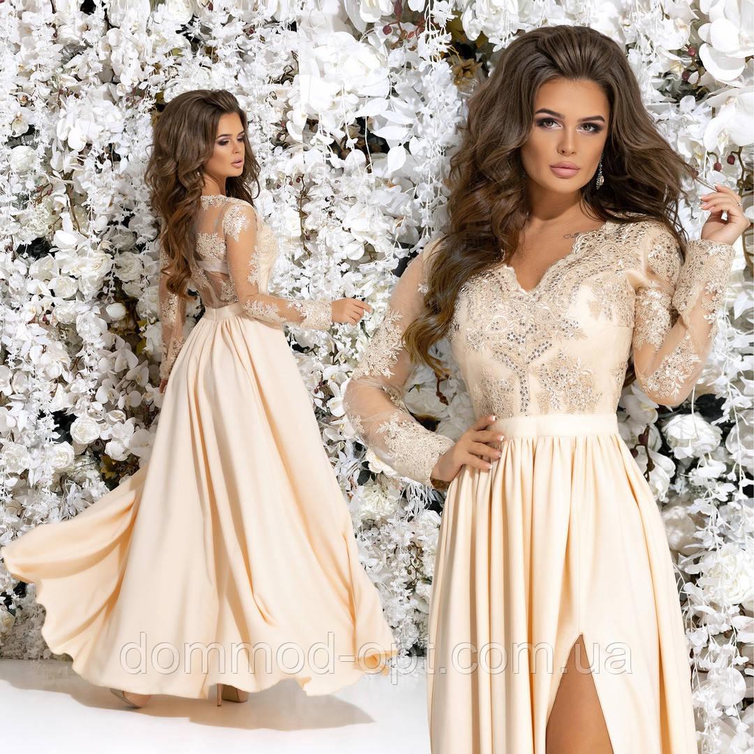 4c5313a159955de Женское шикарное вечернее платье №7219 (р.42-46) бежевый купить в ...