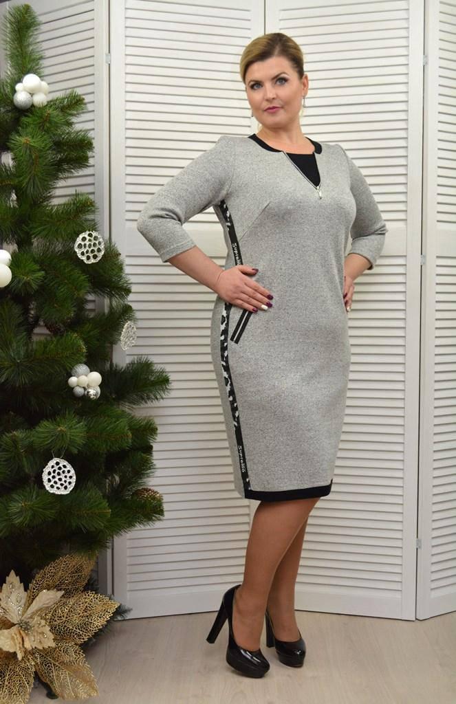 Платье с тесьмой светло серое - Модель 1739