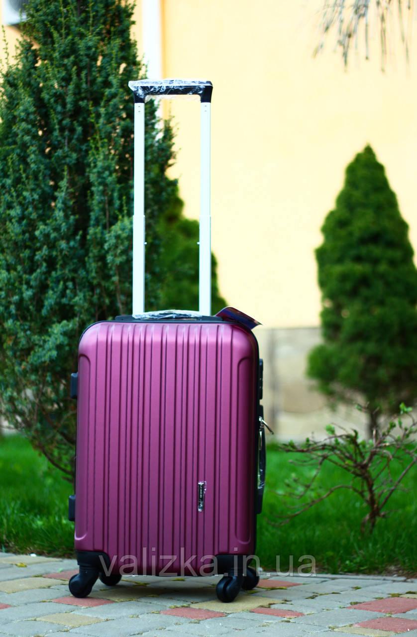 Чемодан из поликарбоната на колесах малый для ручной клади бордовый чемодан Польша / Валіза з полікарбонату