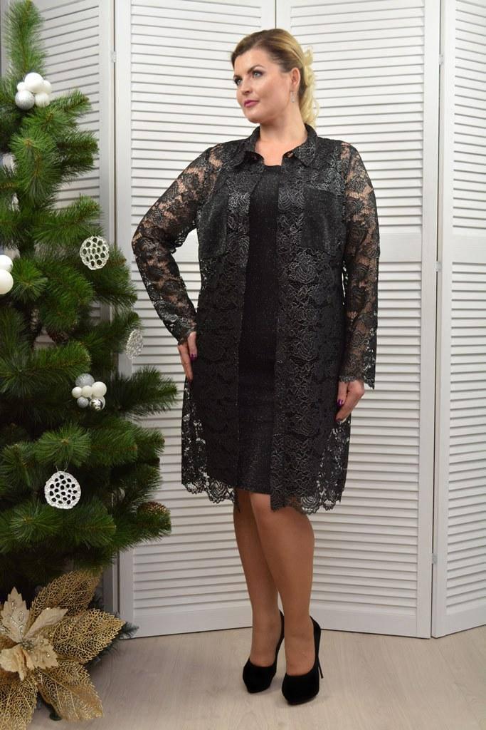 Комплект: Рубашка и платье черное - Модель Л520-2р+Л530-1