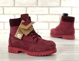 Женские зимние ботинки Timberland 6 inch Bordo с натуральным мехом, фото 2