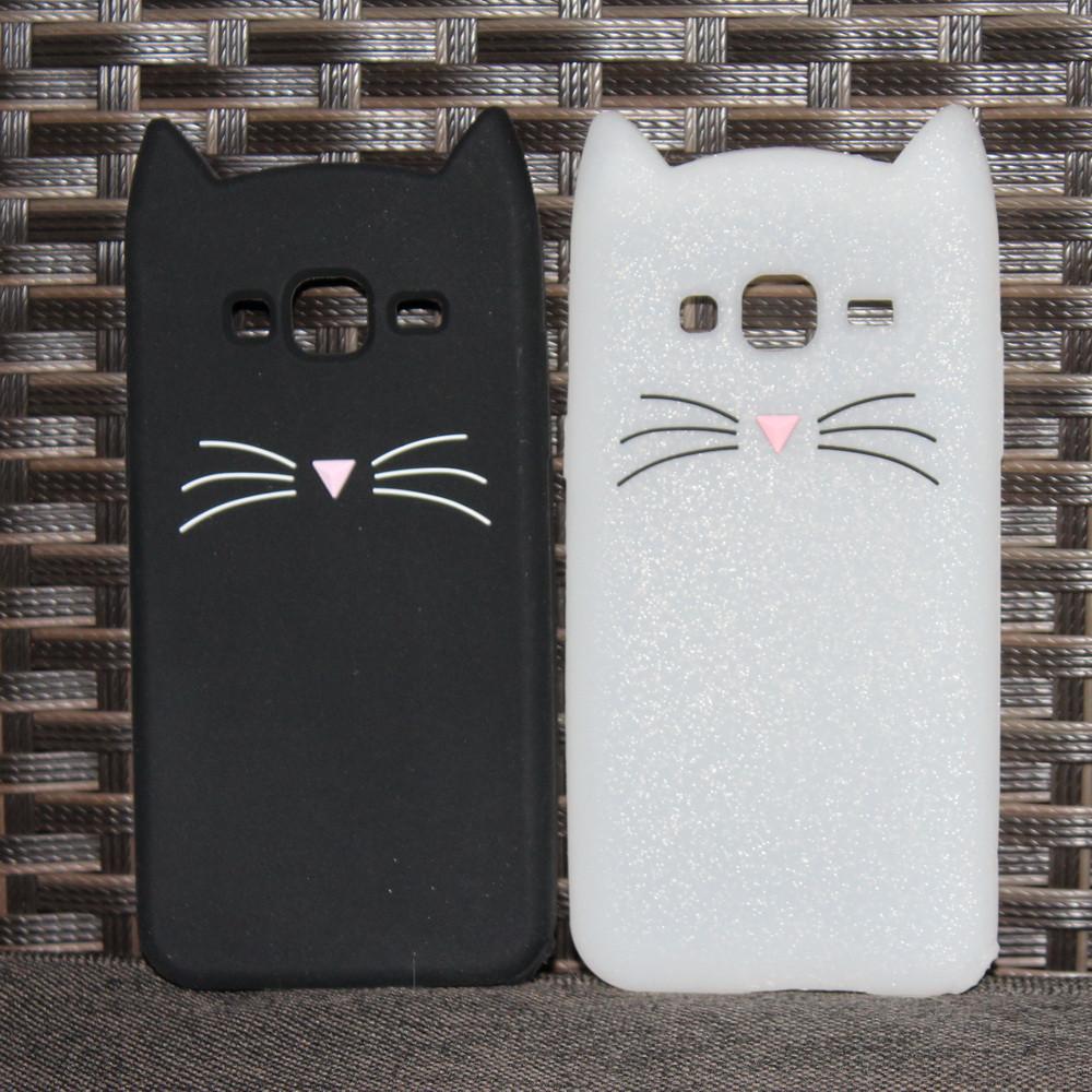 Силиконовый чехол 3D cat для Samsung Galaxy J3 J320 2016