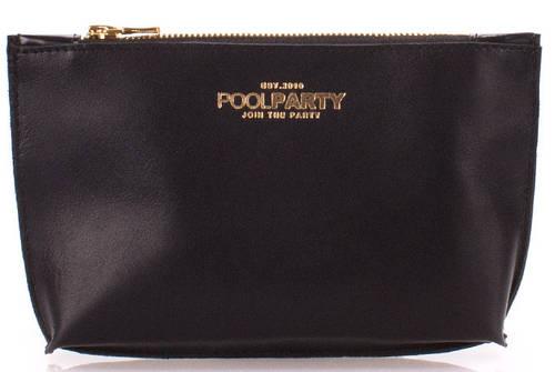 Косметичка-клатч женская из натуральной кожи POOLPARTY pouch-black черная