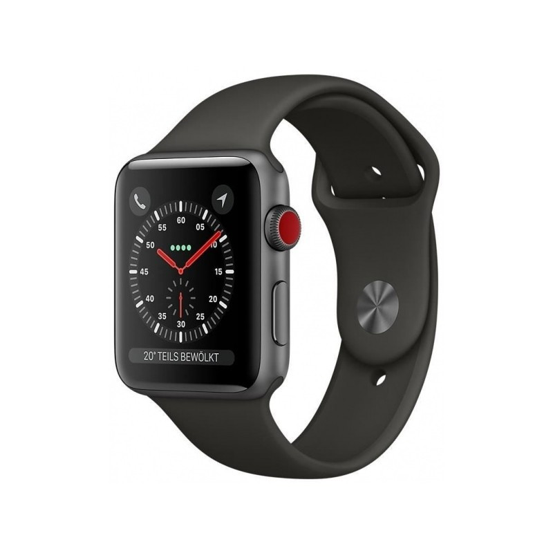 Apple Watch Series 3 GPS + LTE 38mm Space Gray Aluminum Case with Gray Sport Band (MR2Y2)