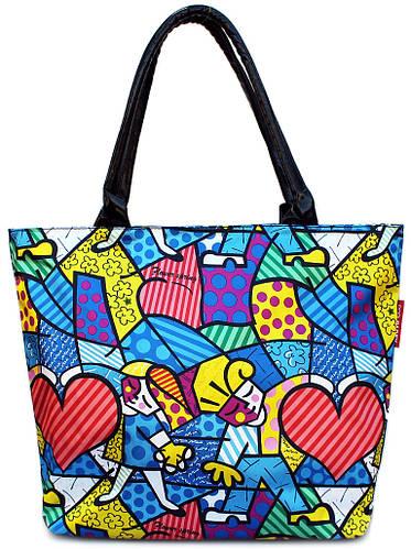 Яркая женская сумка с оригинальным принтом POOLPARTY pool7-2-blossom синяя