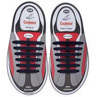 Силиконовые шнурки Coolnice для детской обуви 6+6 Темно-синие (Д16)