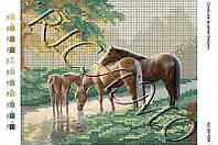 """""""Лошади у ручья"""" - схема для вышивки бисером"""