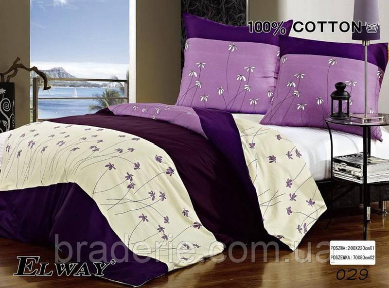 Сатиновое постельное белье евро ELWAY 029 Нежные цветы