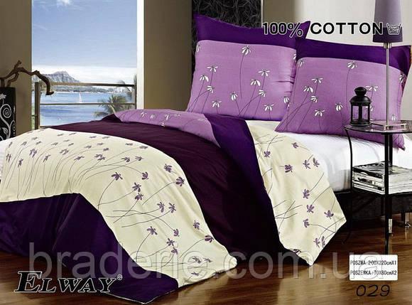Сатиновое постельное белье евро ELWAY 029 Нежные цветы, фото 2