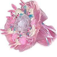 Букет из мягких игрушек Зайки 7 в розовом