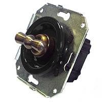Ретро выключатель одноклавишный поворотный для внутреннего монтажа ЧЕРНЫЙ, КОРИЧНЕВЫЙ