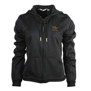 Толстовка спортивная женская adidas D TT Sleek E16980 (черная, хлопок, на молнии, с капюшоном, бренд адидас)