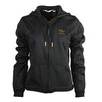 Толстовка спортивная женская adidas D TT Sleek E16980 (черная, хлопок, на молнии, с капюшоном, бренд адидас), фото 1