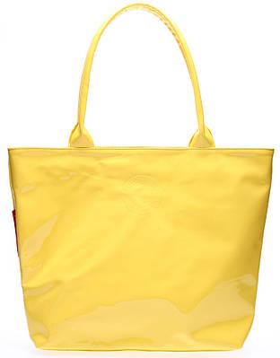 Стильная женская лаковая сумка POOLPARTY pool7-laque-yellow желтая
