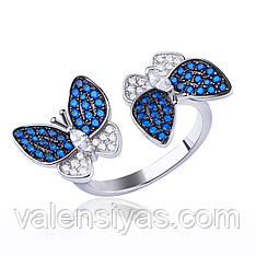 Серебряное кольцо с бабочками КК2ФС/2007