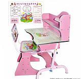 Детская парта со стульчиком трансформер Bambi HB 2072-02 (стол-парта растишка) розовая.киев, фото 2