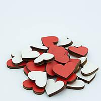 """Декор  дерев. """"Сердечки"""" красно-белые (d=2,5 см) 30 шт"""