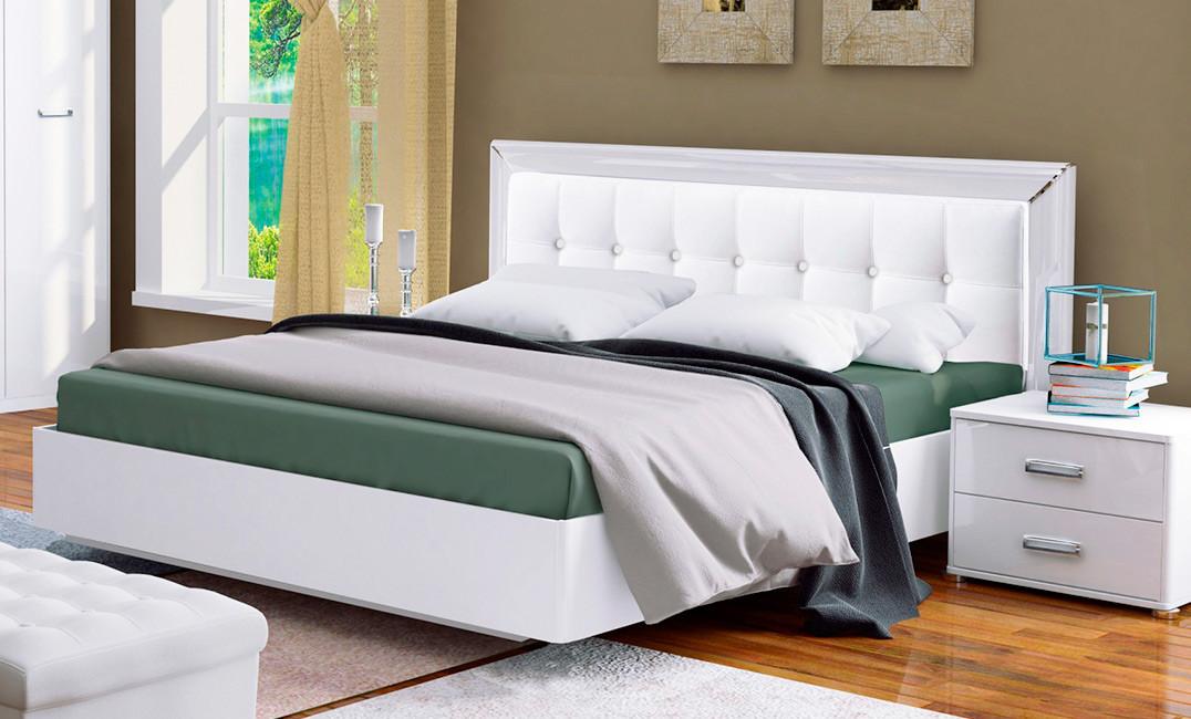Белла кровать 160 профиль с мягкой спинкой и каркасом Миро Марк