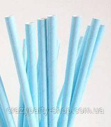 Трубочка для напитков картонная  голубая