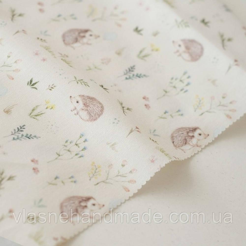 Тканина - Ежики в цветах - Forest Story - 25x80
