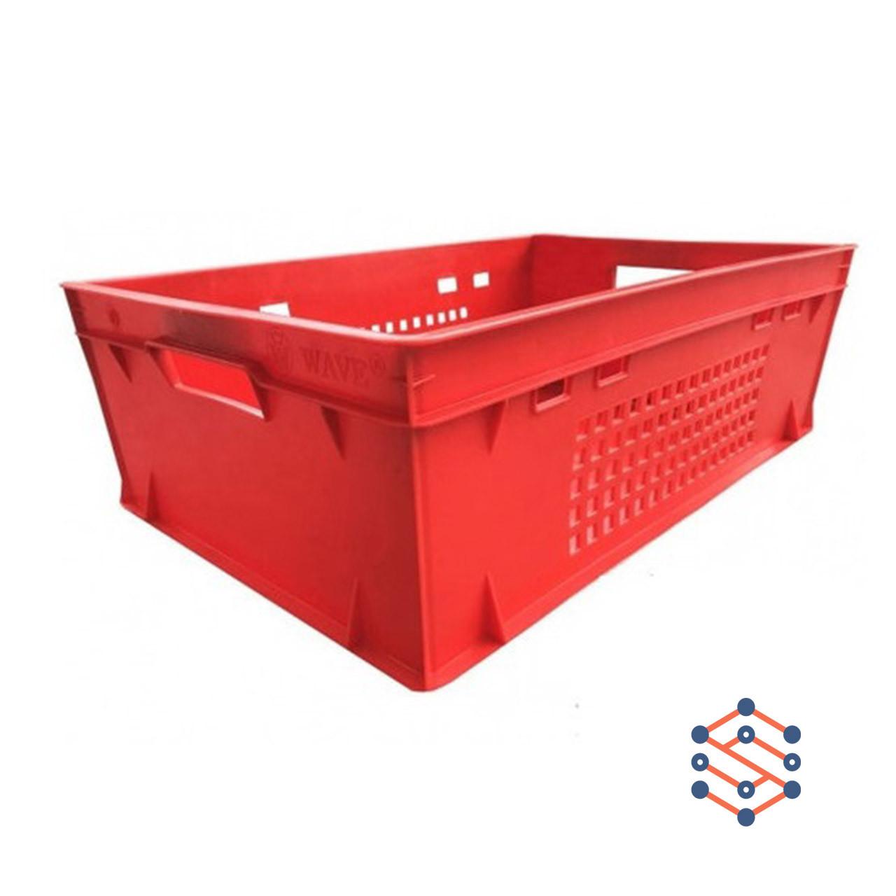 Пластиковый ящик  дно сплошное стенки перфорированные 600х400х200 мм - Е