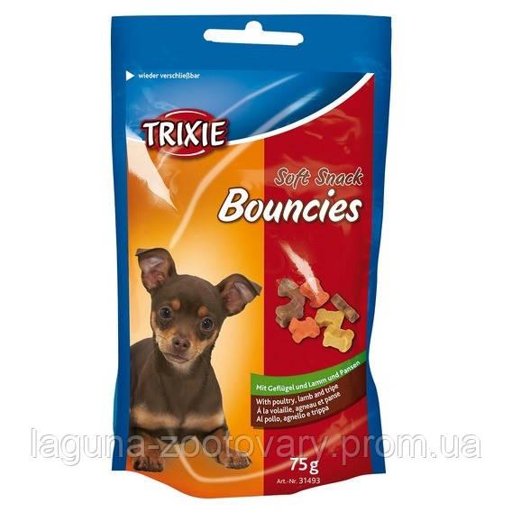 Лакомство для собак со вкусом домашней птицы, баранины и рубца.