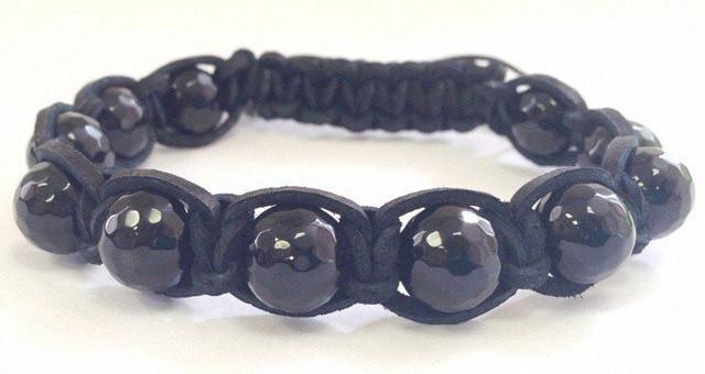 Мужской кожаный браслет из Агата черного