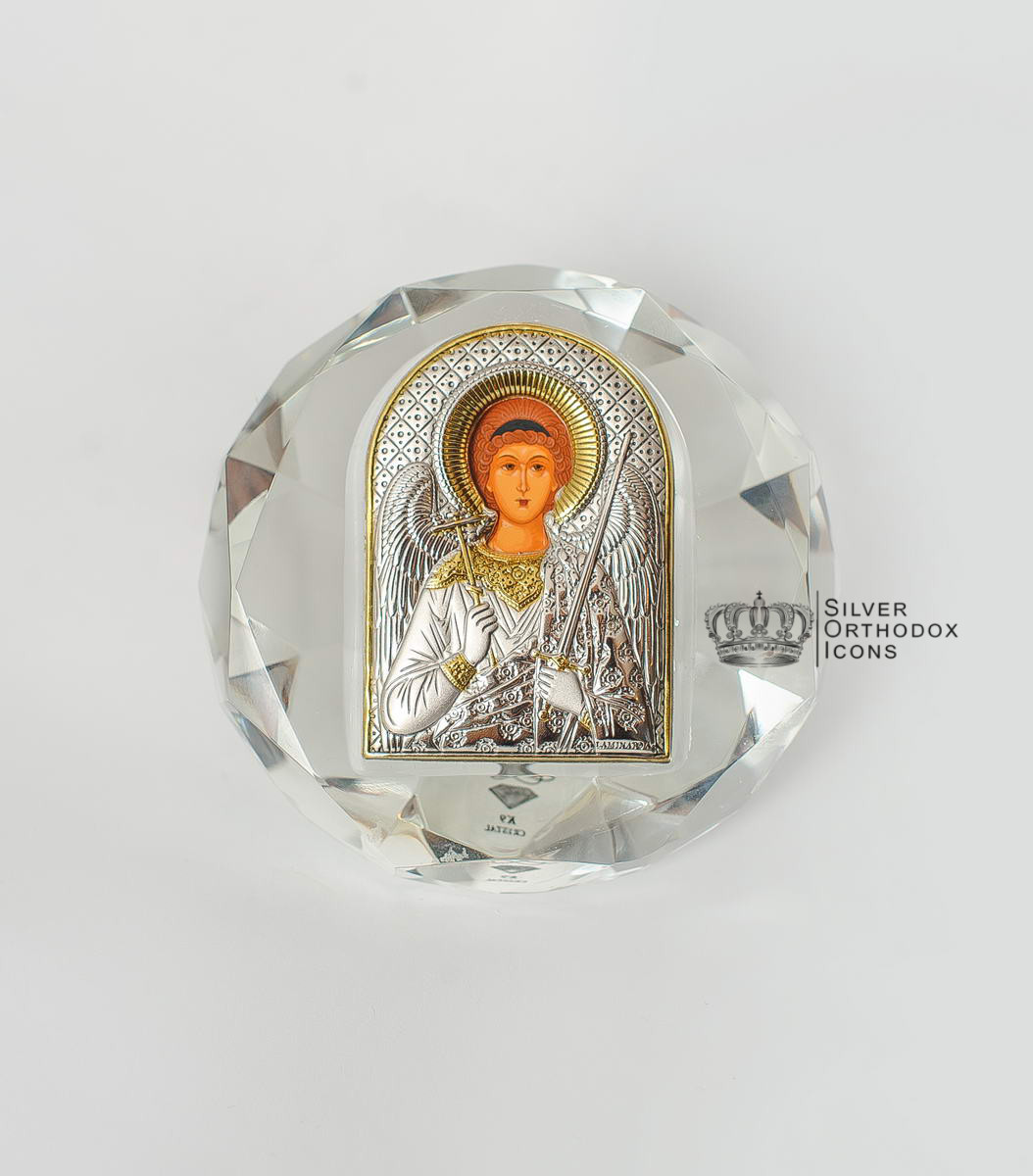 """Серебряная икона """"Ангел Хранитель"""" 8.1х8.1см в хрустальном стекле (Греция)"""