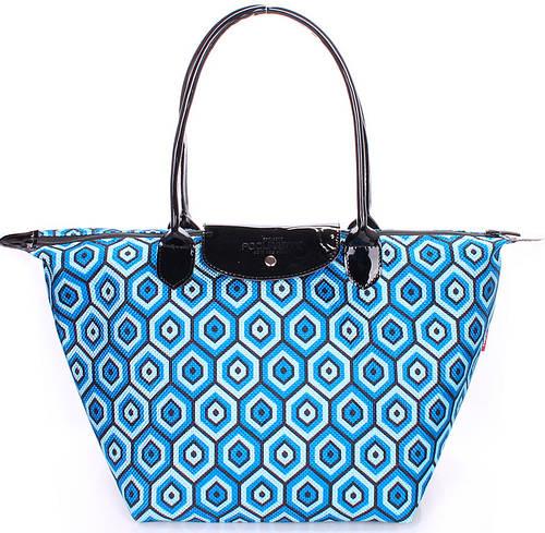 Вместительная женская сумка с клапаном POOLPARTY pool80-blue-cells синяя