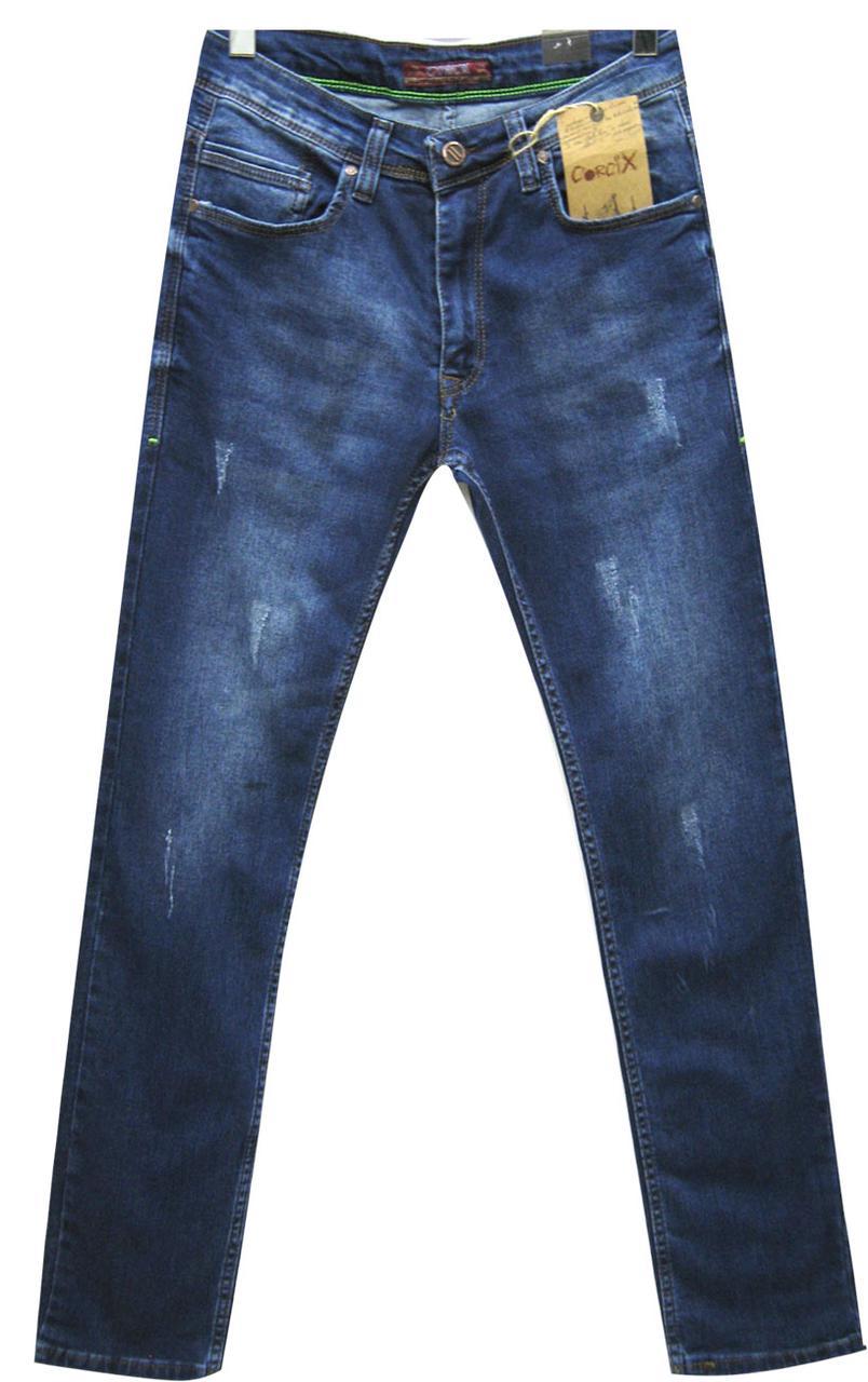 27a2536a296 Модные мужские зауженные джинсы с потёртостями Corcix батал - Jeans Planet  в Полтавской области