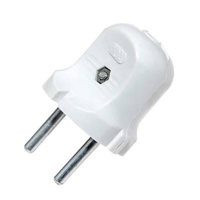 Вилка 10А (колокольчик) белая ЕМП