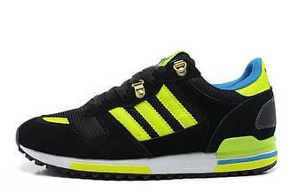 Оригинальные мужские кроссовки Adidas ZX700 (Черно-салатовые) 02M