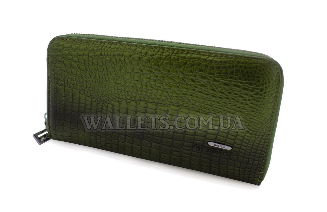 Женский кожаный кошелек BALISA на молнии, зеленый