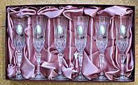 Набор свадебных бокалов под шампанское хрусталь Италия с орнаментом из обручальных колец, 6 шт.