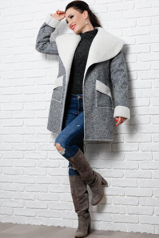 Серое пальто на овчине Бенжамина, большого размера