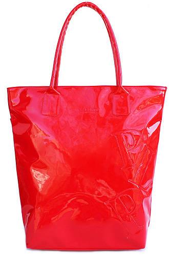 Яркая женская лаковая сумка POOLPARTY PLP LACQUERED BAGS pool86-laque-red красная