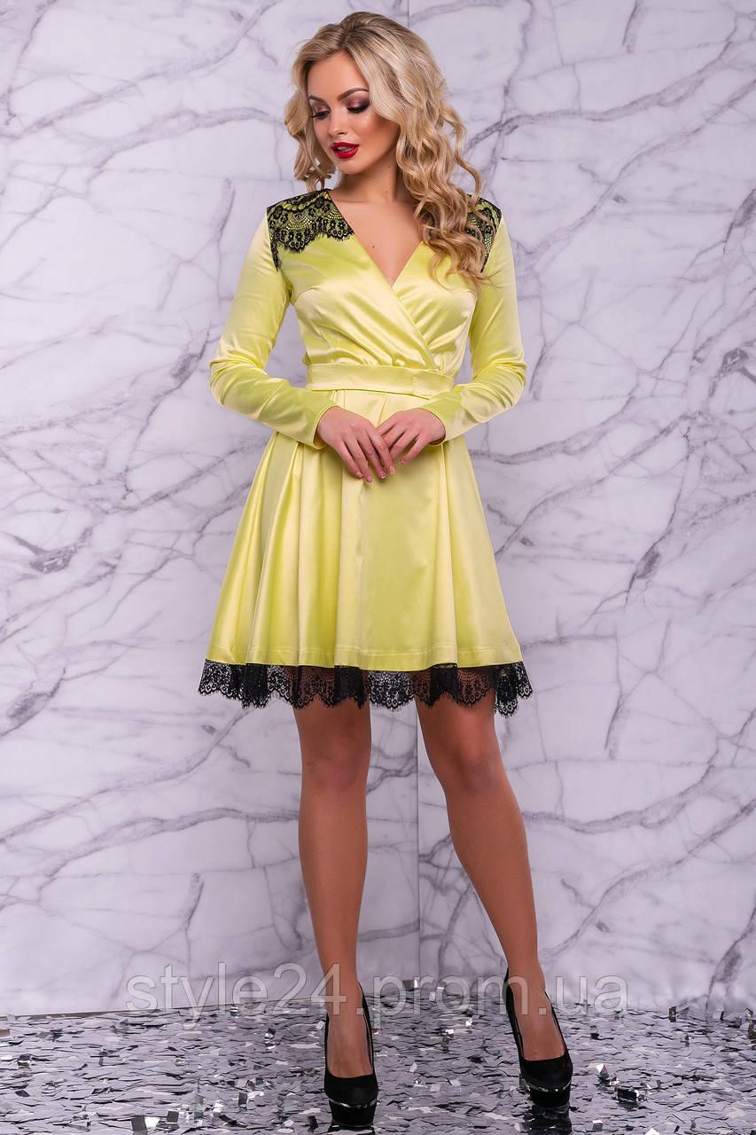 ЖІноче атласне плаття з поясом та гіпюром.Р-ри 42-48