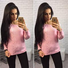 Зимний женский вязаный модный свитер Розовый