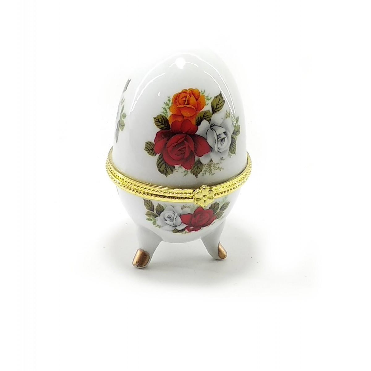 Шкатулка яйцо керамика Розы