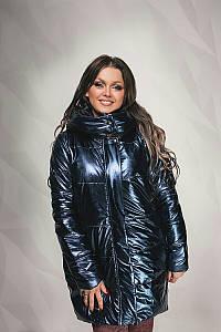 """Удлиненная женская куртка на синтепоне """"SILVA"""" с капюшоном (большие размеры)"""