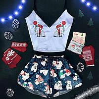 Новогодняя пижама женская Умка шелковая