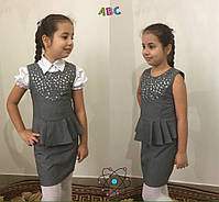 """Сарафан школьный для девочки  """"Перфорация""""  , рост 128;134;140;146см , 3 цвета, код 0655, фото 5"""